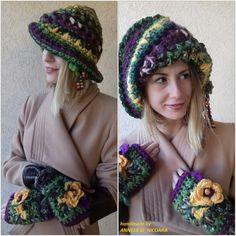 Colorful  and warm set:hat with mitens