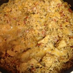 Southwest chicken!!!! Chicken tenderloins-cut into small squares, 2 cups instant rice, 1 taco seasoning, 1 can rotel, grated cheese.   Cook chicken in skillet. Add 1 1/2 cups water, taco seasoning and rotel.  Heat to boiling. Add 2 cups instant rice. Stir, remove from heat and cover. Once water is absorbed, stir and top with cheese. Let cheese melt and voila!! Dinners served! Eat with tostitos, tortillas or by itself!