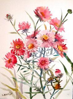 Asters, original watercolor painting, flowers minimalist painting, original art 12 X 9