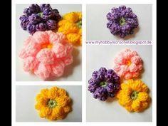 Crochet Flower Tutorial - www.myhobbyiscrochet.com - YouTube