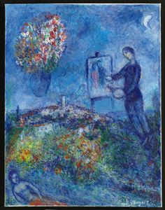 """""""I had only to open my bedroom window, and blue air, love, and flowers entered with her,"""" ― Marc Chagall   Brooklyn Museum"""