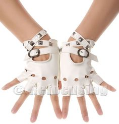 WHITE STUD FAUX LEATHER FINGERLESS GLOVES - These look like a great candidate for steampunking.