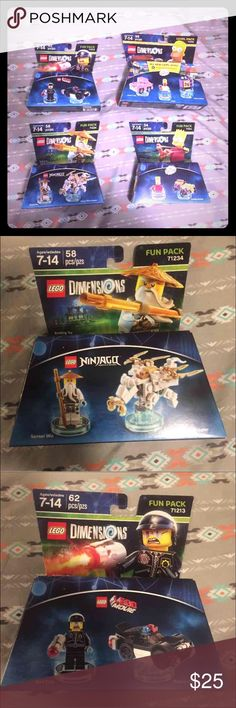 Lego dimensions 4 sets Simpsons fun pack  Simpsons level pack  Ninjago fun pack The lego movie fun pack Brand new! Lego Other