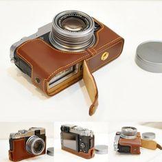Amazon.com : Handmade Genuine real Leather Half Camera Case bag cover for FUJIFILM X20 X10 Brown Bottom opening Version : Camera & Photo