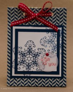"""Small gift bag using designer paper, 4""""x 6"""" white bag and triple time stamping technique w/ only 2 layers."""