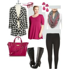 """""""Houndstooth Happiness- Plus Size Outfit"""