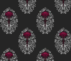 Bedroom folklor fabric by renule, available from Spoonflower