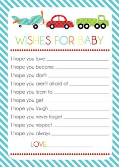 Wishes for Baby  Transportation design Baby boy by LillyMaeDesigns, $6.00