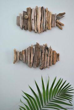 Рыбы на стене. Из коряжек для интерьера в экостиле (3) (468x700, 175Kb)