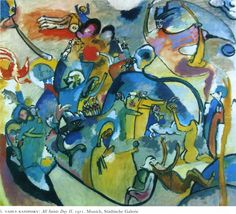 All Saints day I, 1911 by Wassily Kandinsky. Expressionism. allegorical painting. Städtische Galerie im Lenbachhaus, Munich, German
