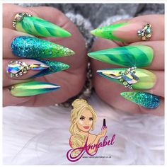 💛💙💚Throwback Summer Vibes 💚💙💛 For this set I used :- Glitterbels Acrylic System :- Clear Monomer Glass Slippers Peacherbel Cover Acrylic… Green Nail Designs, Nail Art Designs, Acrylic Nails, Gel Nails, Nails By Kim, Nail Art Strass, Lime Green Nails, Luxury Nails, Dope Nails