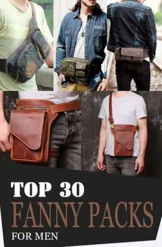 """The new """"it"""" bag this year is a fanny pack! It has been in demand and spotted all over the world at most recent years and even today! It is also known as """"belt bag""""or """"waist bag""""Maybe, you're wondering why people are dying to have this bag. Leather Bum Bags, Leather Fanny Pack, Leather Men, One Shoulder Backpack, Mens Style Guide, Waist Pack, Denim Bag, Hunting Trips, Mens Fashion"""