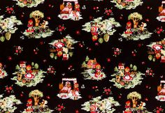 Cotton Quilt Fabric Little Heroines Red Riding Hood And Wolf Black Multi - product images  of