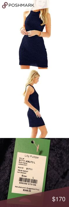 Lilly Pulitzer Jamie Shift (NWT), Size Large Lilly Pulitzer Jamie Shift in Navy, size large. New with tags, never worn. Gorgeous crochet pattern! Lilly Pulitzer Dresses