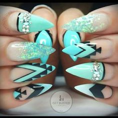 AquA stilettos with glitter gellies and tribal designs