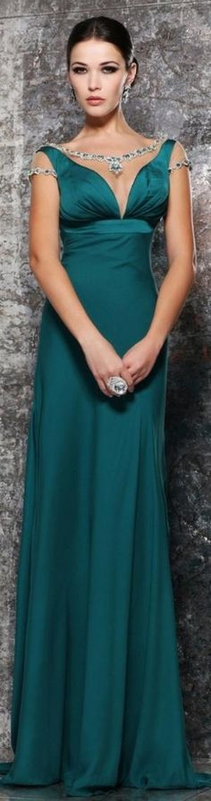 Tarik Ediz 92194 evening gown that is simply beyond exquisite. The empire waistline, highlighted by a satin band, gives out a grand introduction to the seamless stretch of fabric that journeys to the floor with a graceful swirl. Beautiful Gowns, Beautiful Outfits, Elegant Dresses, Nice Dresses, Elegant Gown, Beauty And Fashion, Glamour, Dream Dress, Designer