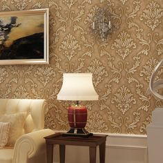 New luxury Nonwovens European 3D Stereo Carved Bronzing Striped Living Room Bedroom Backdrop Restaurant Wallpapers Wall paper