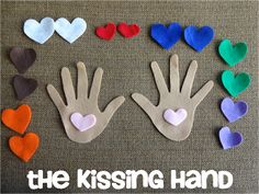 The Preschool Procrastinator: The Kissing Hand  ***simple rhyme about Chester the raccoon...color matching game