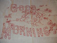 Hand Embroidery Designs, Embroidery Patterns, Embroidered Pillowcases, Good Morning Good Night, Needlework, Red And White, Pillow Covers, Pillows, Sewing