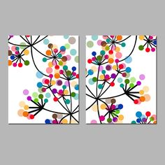 Modern Abstract Botanical Flowers Duo - Set of Two Prints - Colorful Wall Art for Home D. - Modern Abstract Botanical Flowers Duo – Set of Two Prints – Colorful Wall Art for Home De - Colorful Abstract Art, Colorful Wall Art, Colorful Decor, Blue Abstract, Diy Art, Circle Art, Metal Tree Wall Art, Dot Painting, Purple Painting