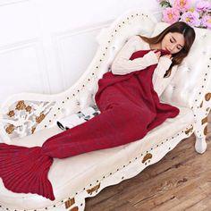 New Fashion Knitted Mermaid Tail Blanket Handmade Crochet Adult Bed Wrap Soft Sleeping Bag Blankets Knitted Mermaid Tail Blanket, Crochet Mermaid Tail, Mermaid Blankets, Mermaid Tails, Blanket Crochet, Mermaid Mermaid, Bed Wrap, Cheap Blankets, Sofa Blanket