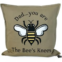 Cheers Dad - Dads are ACE! Show him how absolutely brilliant he is with a Brit and Bee 'Bee's Knees' Dad Throw Pillow. A unique Father's Day or birthday gift. Cotton Drawstring Bags, Dad Day, Bees Knees, Perfect Pillow, Cotton Canvas, Birthday Gifts, Dads, Cushions, Throw Pillows