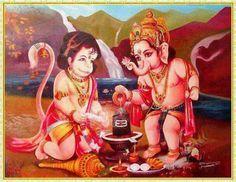 Most pretty picture of Lord Ganesha and Lord Hanuman with shiv ling 🙏🙏😘 Bal Hanuman, Hanuman Pics, Hanuman Images, Shri Ganesh, Ganesha Art, Krishna, Baby Ganesha, Ganesh Lord, Hanuman Hd Wallpaper