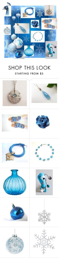 """Blue Christmas"" by marlena-rakoczy ❤ liked on Polyvore featuring Shishi and GlucksteinHome"