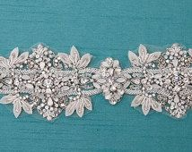 Ivory Bridal Belt, Swarovski  White Opal Crystal Wedding Sash, Hand Beaded Flower Sash- CUSTOM ORDER