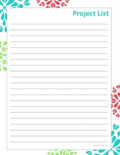 Home project list printable