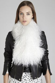 White Milani Lamb Fur Collar