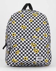 VANS Realm Sunflower Checkerboard Backpack in 2020 Cute Backpacks For School, Cute Mini Backpacks, Trendy Backpacks, Girly Backpacks, Leather Backpacks, Leather Bags, Vans Backpack, Black Backpack, Backpack Bags