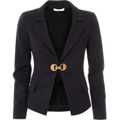 Versace Collection Black Polyamide Fitted Tailored Blazer found on Polyvore