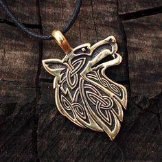 Loup de bronze tête celte amulette spirituelle pendentif Talisman recto-verso