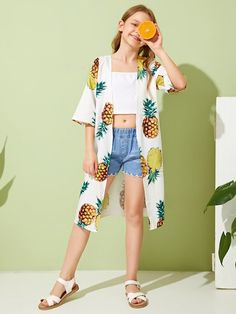 Girls Drop Shoulder Pineapple Kimono - Source by xxxtruefagotinm - Dresses Kids Girl, Kids Outfits Girls, Cute Girl Outfits, Cute Outfits For Kids, Cute Casual Outfits, Cute Summer Outfits, Preteen Girls Fashion, Girls Fashion Clothes, Teen Fashion Outfits