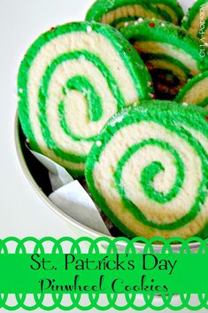 Pat's Pinwheel Cookies paddysday Pinwheel Cookies, Green Cake, St Patricks Day Food, St Pats, Irish Recipes, Salted Butter, Holiday Cookies, Recipe Collection