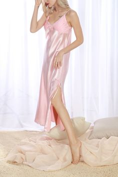 6d0284758b Amazon.com  4Ping Women s Spring and Summer Imitation Silk Pajamas Long  Paragraph Split Sexy Sling Sleep Dress  Clothing