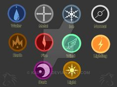 Element Badges by KaiKudo on DeviantArt Magia Elemental, Elemental Magic, Elemental Powers, Elf Magic, Magic Art, Spell Circle, Supernatural Symbols, Glyph Tattoo, Types Of Magic