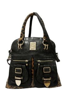 Kardashian Kollection Buckle Tote Black Leopard Bag Out Of Stock