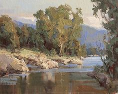 On The River by Bill Davidson Oil ~ 12 x 16