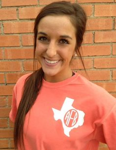 Texas spirit short sleeve monogram t-shirt Texan or ANY state❤️ cute!