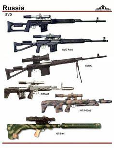 СССР / Россия: SVD, SVDK, OTs-03, OTs-03AS, OTs-44