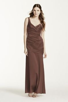 Flawlessstructureddesign, your bridesmaids will look alluring in this stunning dress!  Sleeveless v-neck dress with stretch satin pleated bodice.  Lined through the hip. Back zip. Imported polyester. Dry clean only.  Available in extra length as style 4XLF15652.  To protect your dress, try our Non Woven Garment Bag. Also available in Extra Length as Style 4XLF15652.