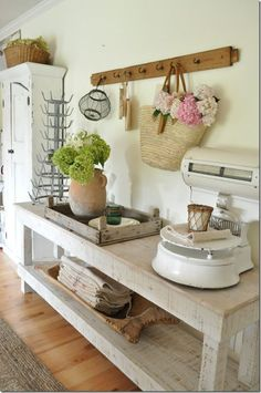 farmhouse, Becky Cunningham home, vintage scale, French farmhouse, dining room, vintage style, market basket, hydrangeas, farmhouse style, Ivy and Stone shop,