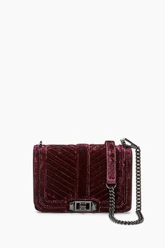 Velvet Chevron Quilted Small Love Crossbody Bag