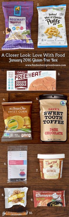 From gourmet popcorn to sea salt caramel, the Love With Food January 2016 Gluten-Free snack box featured new & delicious, gluten-free snacks & brands.
