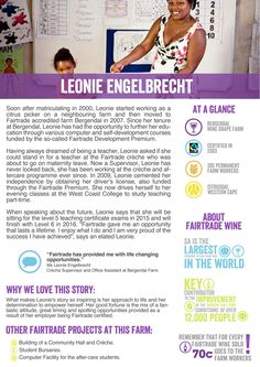 "Meet Leonie Engelbrecht, a citrus picker on Fairtrade certified farm Bergendal. Leonie says, ""Fairtrade gave me an opportunity that lasts a lifetime. I enjoy what I do and I am very proud of the success I have achieved.""  Through Fairtrade, Leonie has become more independent by assisting her in obtaining her driver's license, which allows her to travel to evening classes for her teaching certificate.  Bergendal produces wine grapes for today's wine of the day… The Six Hats wines from…"