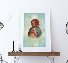 Vintage Native American Man The Prophet Illustration Art Print Vintage Giclee on Cotton Canvas or Paper Canvas Poster Wall Decor  #wallart #homedecor #art #artprint #portrait #native #nativeamerican #tribal #history #americanindian #southwestern #decor #etsy #restored #upcycled #americana #medicineman #nativemedicineman #nativeamericanart #prophet