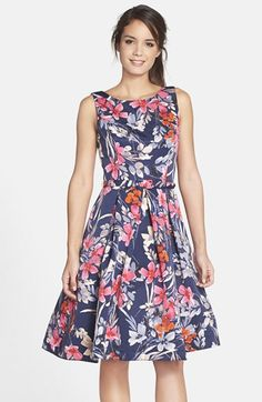 Eliza J Print Fit & Flare Dress available at #Nordstrom