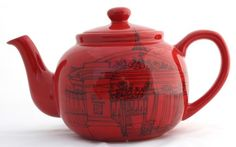 London upcycled tea pot with ink drawings